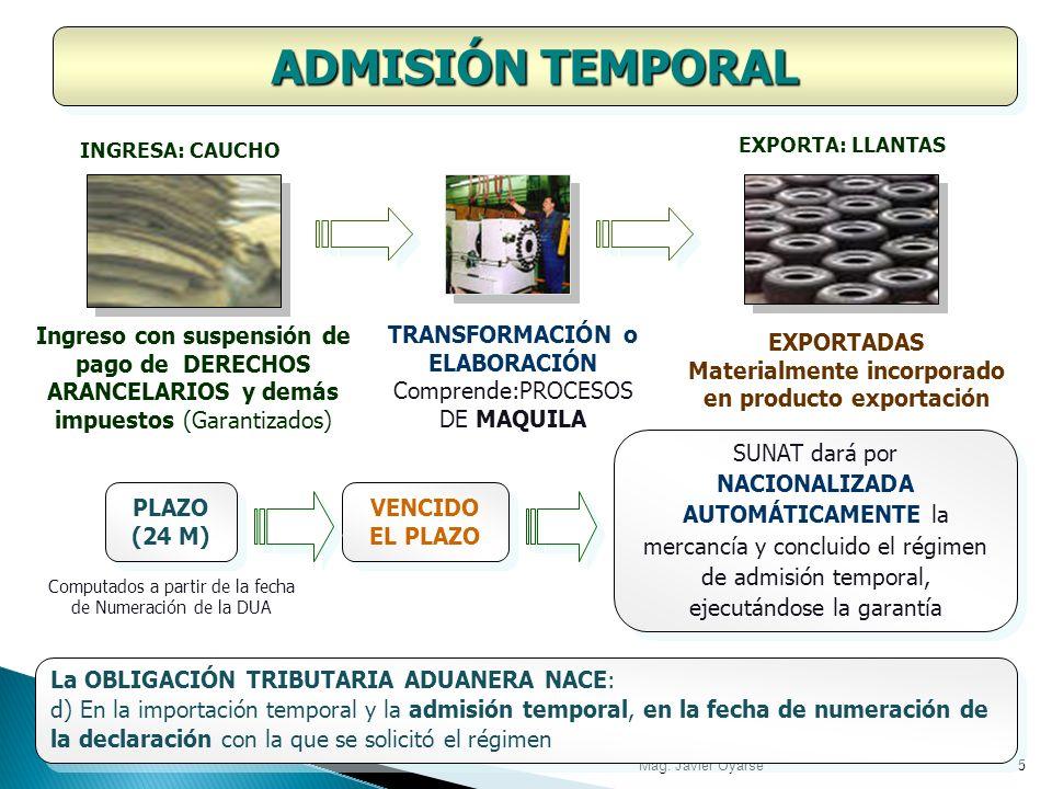 ADMISIÓN TEMPORAL INGRESA: CAUCHO. EXPORTA: LLANTAS. Ingreso con suspensión de pago de DERECHOS ARANCELARIOS y demás impuestos (Garantizados)