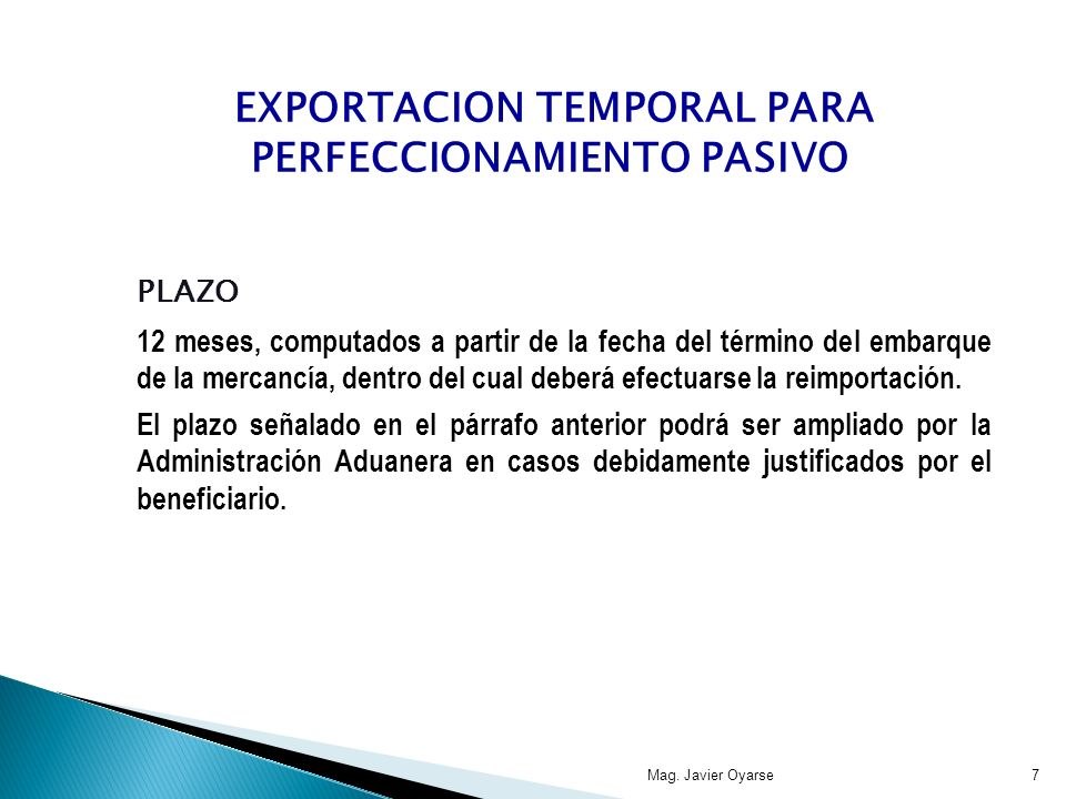 EXPORTACION TEMPORAL PARA PERFECCIONAMIENTO PASIVO