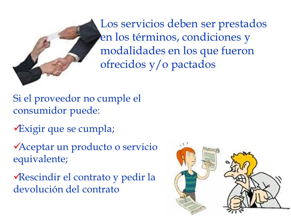 Los servicios deben ser prestados en los términos, condiciones y modalidades en los que fueron ofrecidos y/o pactados