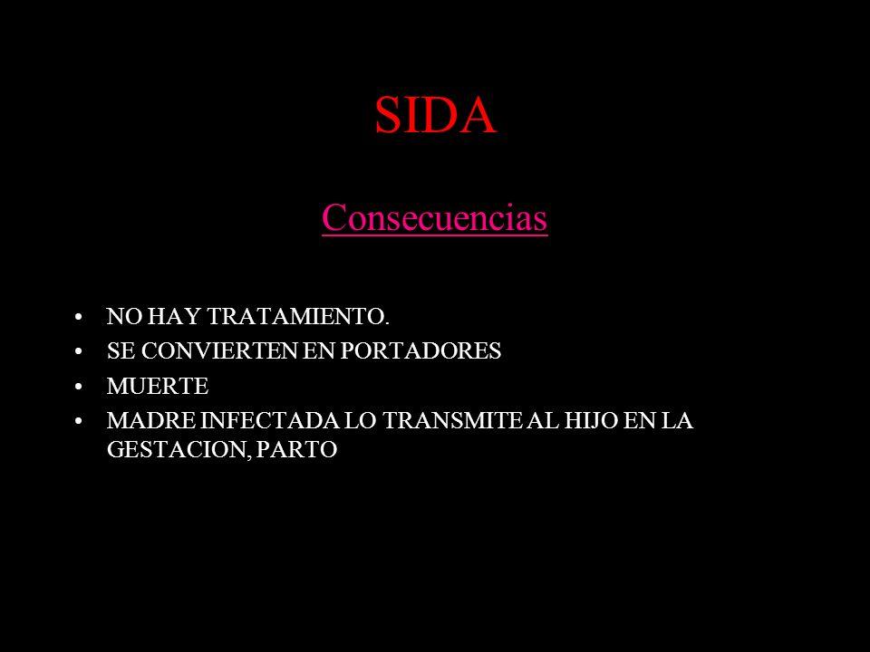 SIDA Consecuencias NO HAY TRATAMIENTO. SE CONVIERTEN EN PORTADORES