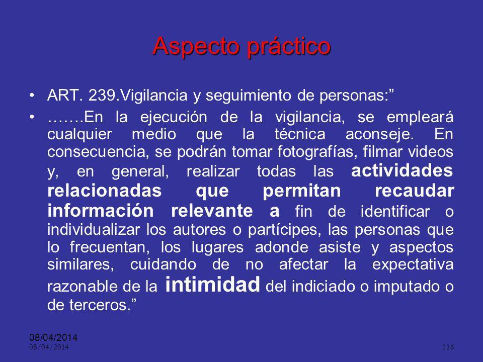 Aspecto práctico ART. 239.Vigilancia y seguimiento de personas: