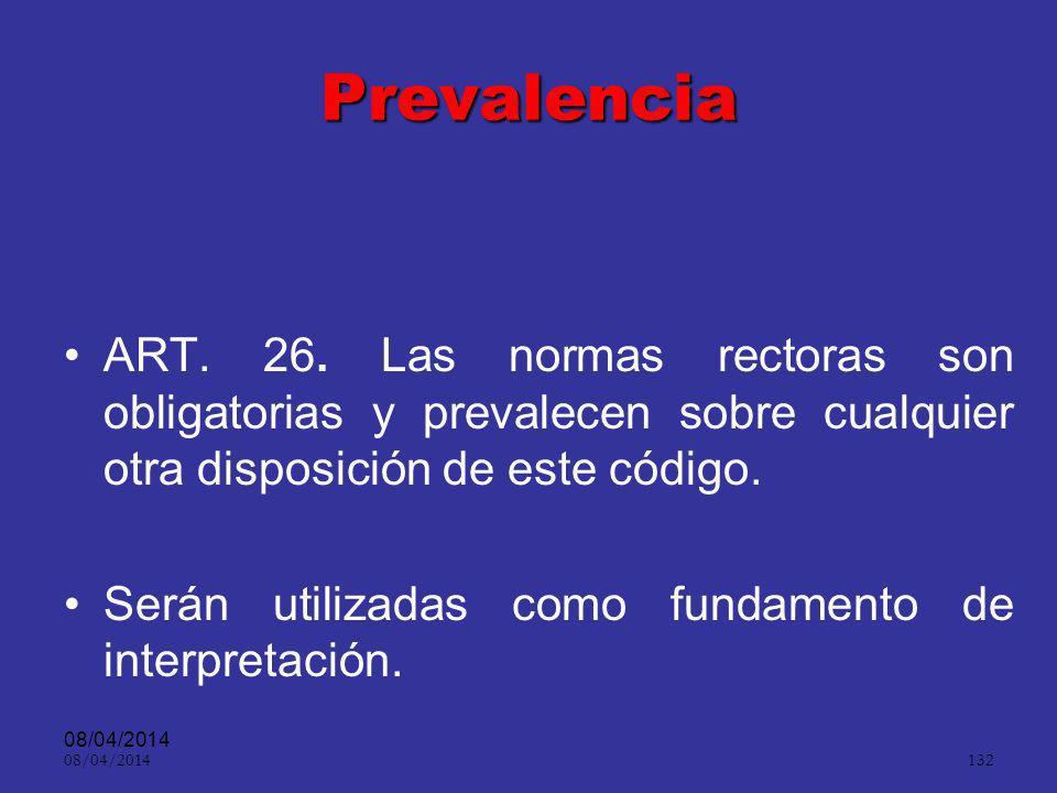 Prevalencia ART. 26. Las normas rectoras son obligatorias y prevalecen sobre cualquier otra disposición de este código.