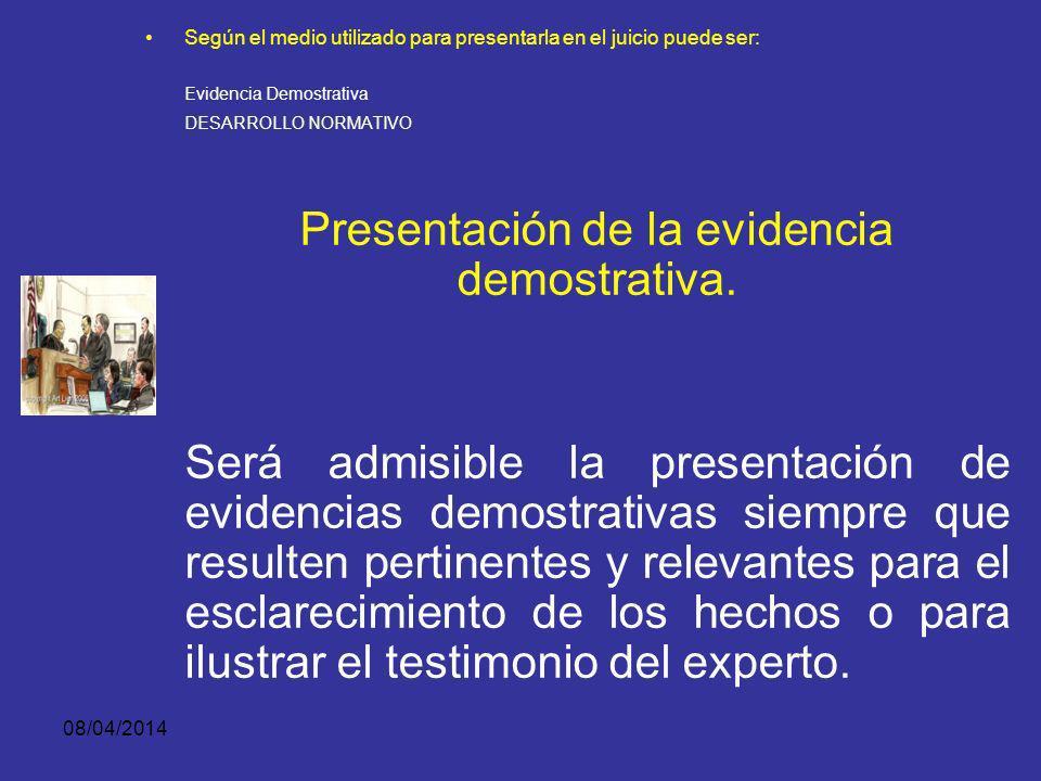 Presentación de la evidencia demostrativa.