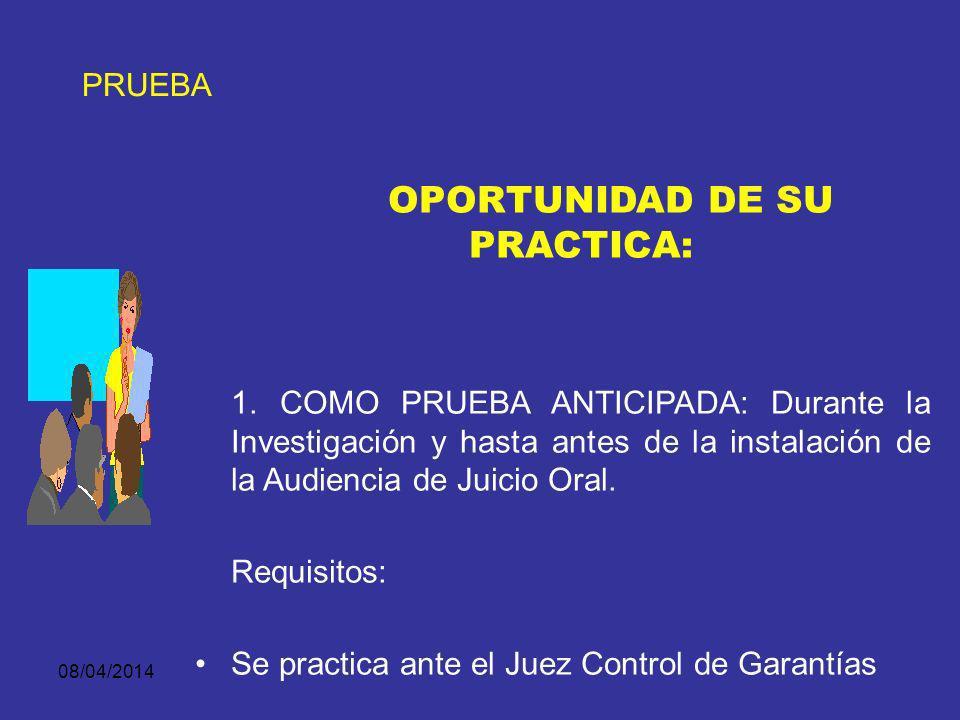 OPORTUNIDAD DE SU PRACTICA: