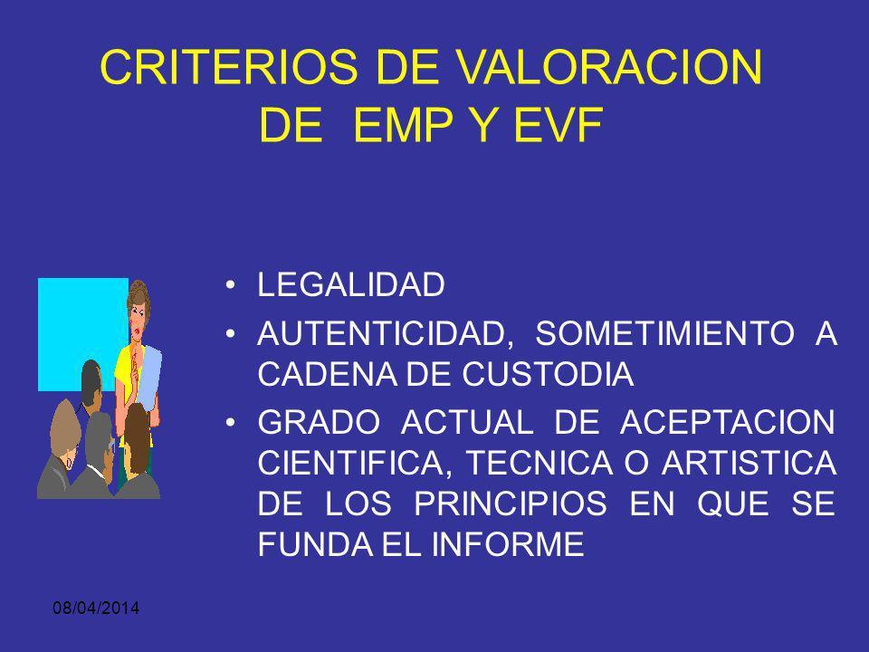 CRITERIOS DE VALORACION DE EMP Y EVF