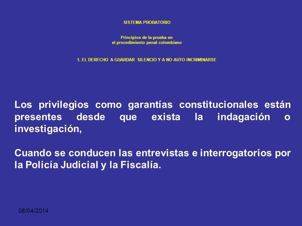 SISTEMA PROBATORIO Principios de la prueba en. el procedimiento penal colombiano. 1. EL DERECHO A GUARDAR SILENCIO Y A NO AUTO INCRIMINARSE.