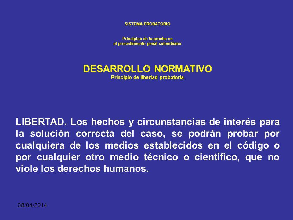 SISTEMA PROBATORIO Principios de la prueba en. el procedimiento penal colombiano. DESARROLLO NORMATIVO.