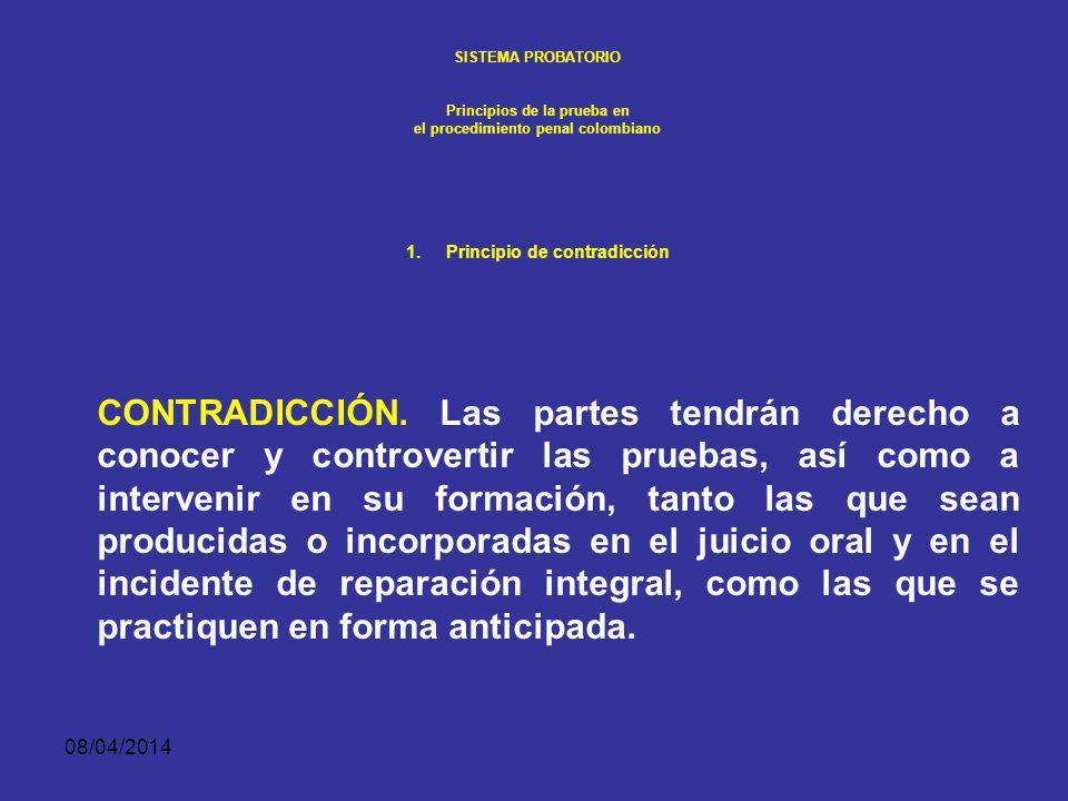 SISTEMA PROBATORIO Principios de la prueba en. el procedimiento penal colombiano. Principio de contradicción.
