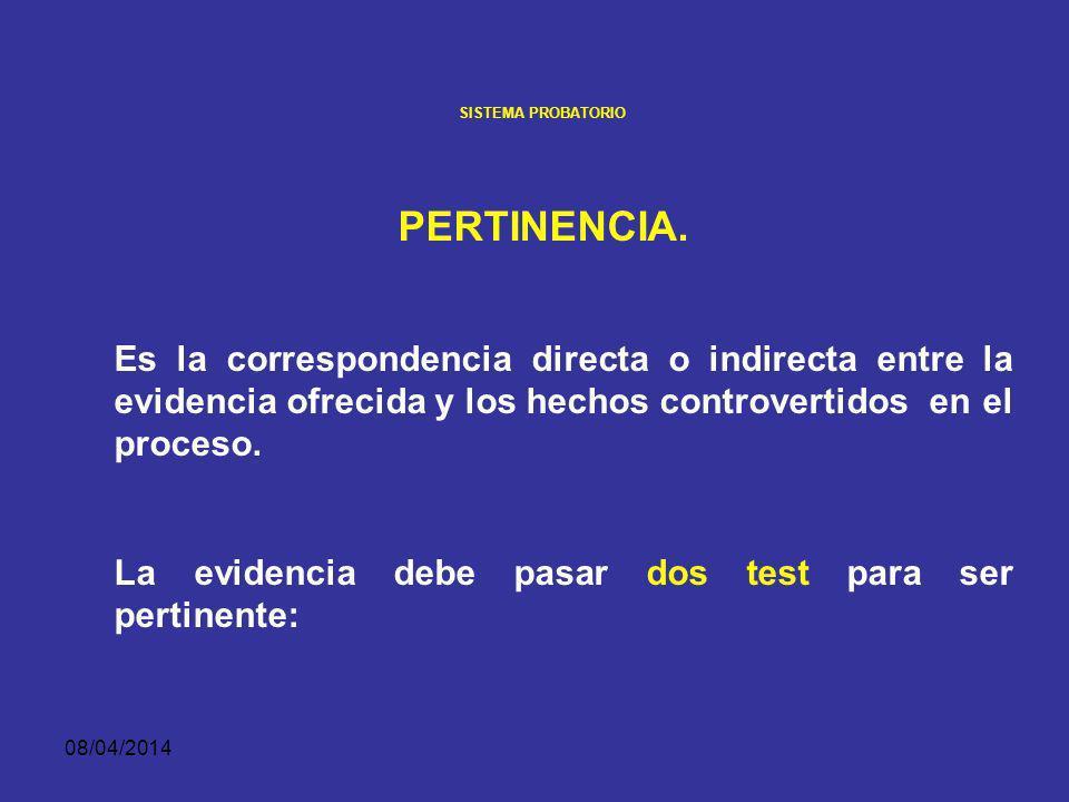 SISTEMA PROBATORIO PERTINENCIA. Es la correspondencia directa o indirecta entre la evidencia ofrecida y los hechos controvertidos en el proceso.