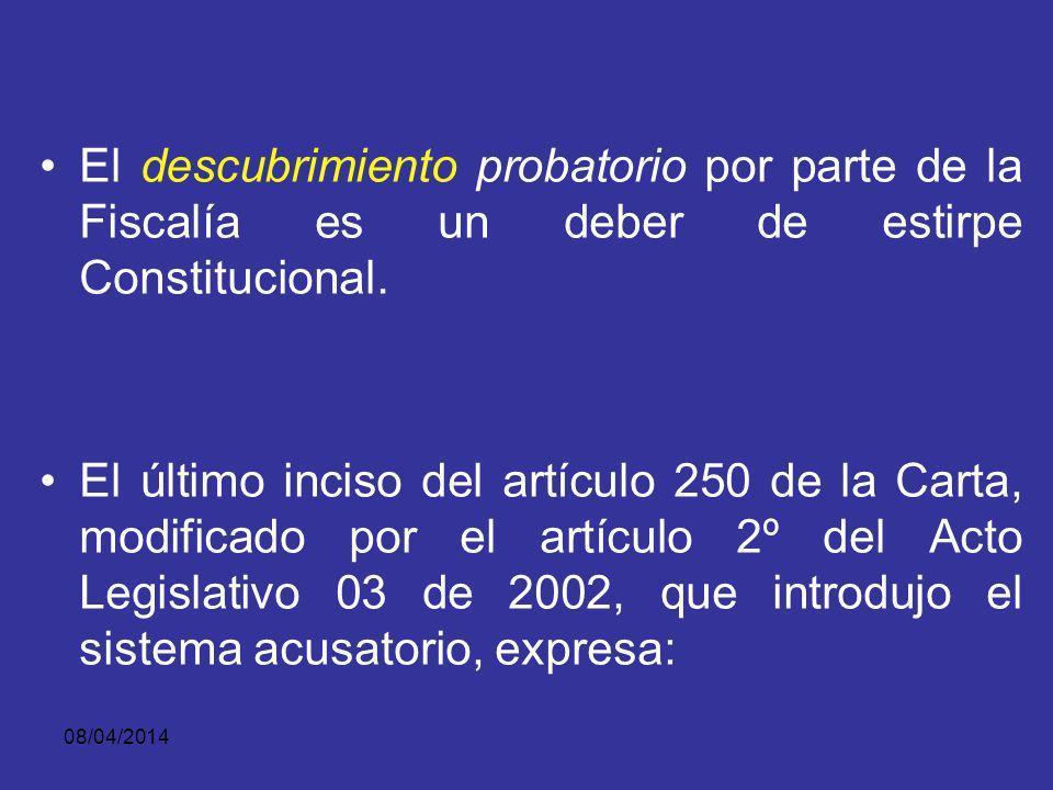 El descubrimiento probatorio por parte de la Fiscalía es un deber de estirpe Constitucional.