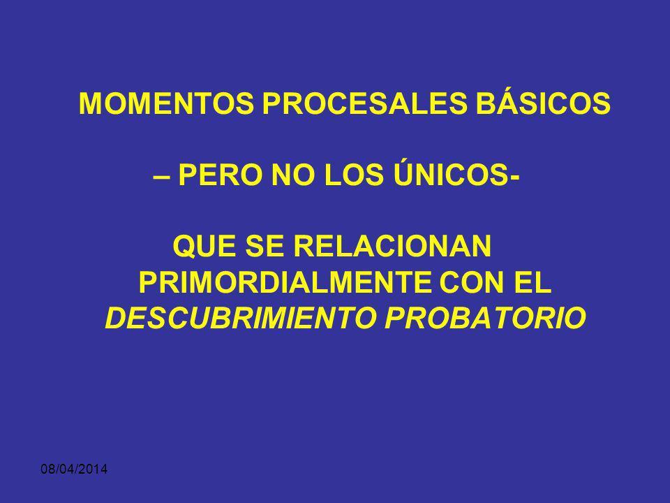 MOMENTOS PROCESALES BÁSICOS – PERO NO LOS ÚNICOS-