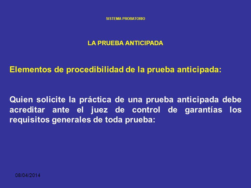 Elementos de procedibilidad de la prueba anticipada: