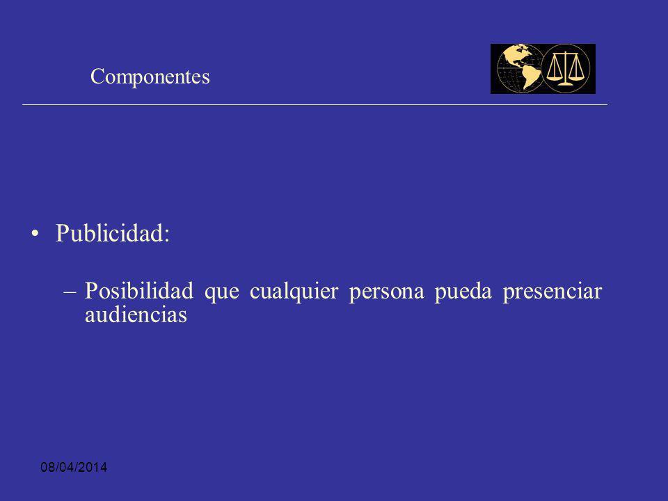 Componentes Publicidad: Posibilidad que cualquier persona pueda presenciar audiencias 29/03/2017