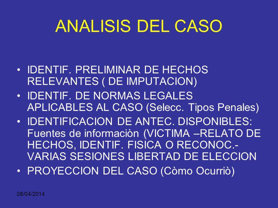 ANALISIS DEL CASO IDENTIF. PRELIMINAR DE HECHOS RELEVANTES ( DE IMPUTACION) IDENTIF. DE NORMAS LEGALES APLICABLES AL CASO (Selecc. Tipos Penales)