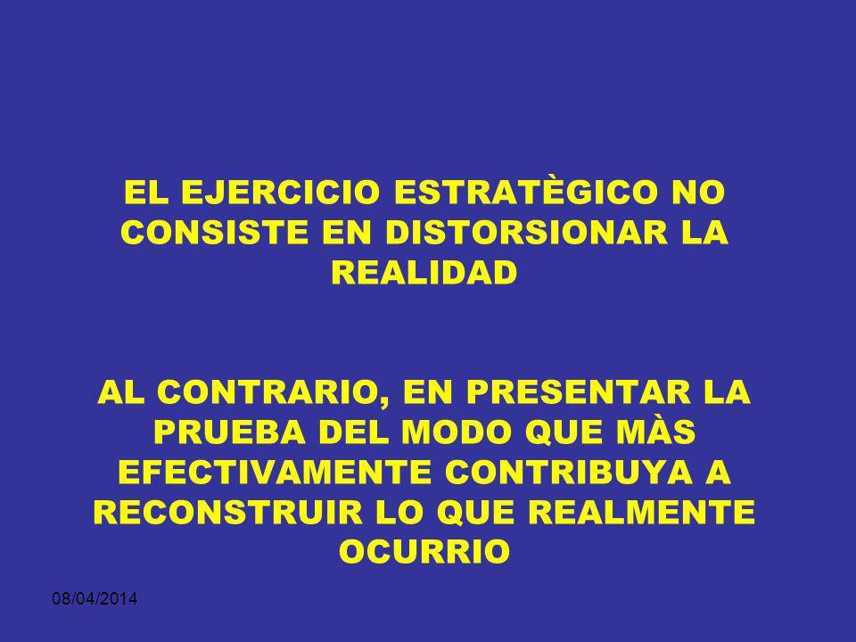 EL EJERCICIO ESTRATÈGICO NO CONSISTE EN DISTORSIONAR LA REALIDAD AL CONTRARIO, EN PRESENTAR LA PRUEBA DEL MODO QUE MÀS EFECTIVAMENTE CONTRIBUYA A RECONSTRUIR LO QUE REALMENTE OCURRIO
