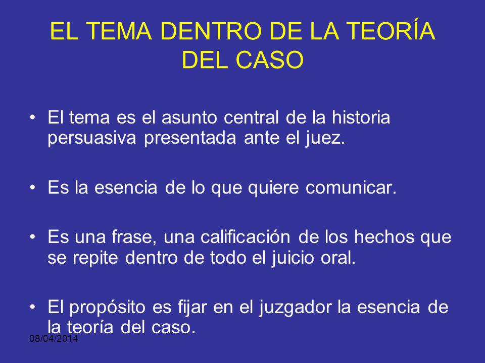 EL TEMA DENTRO DE LA TEORÍA DEL CASO