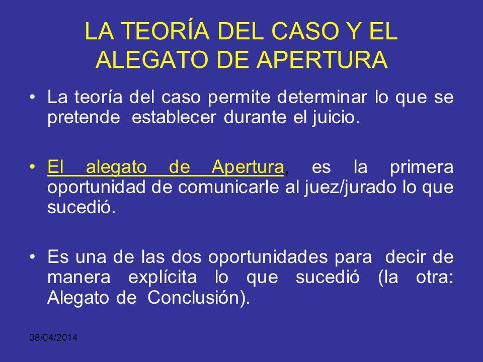 LA TEORÍA DEL CASO Y EL ALEGATO DE APERTURA