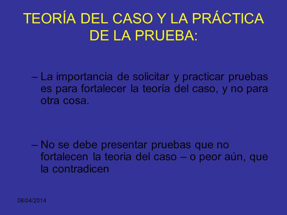 TEORÍA DEL CASO Y LA PRÁCTICA DE LA PRUEBA: