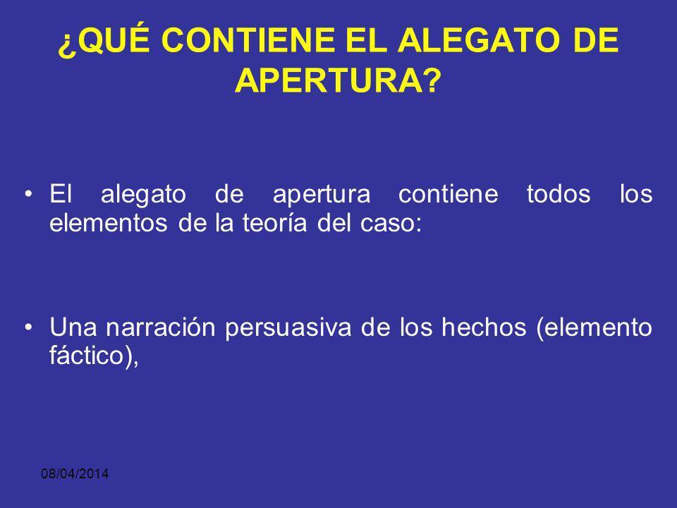 ¿QUÉ CONTIENE EL ALEGATO DE APERTURA