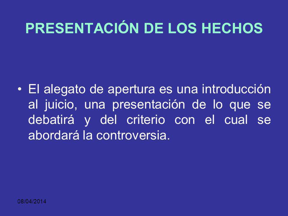 PRESENTACIÓN DE LOS HECHOS