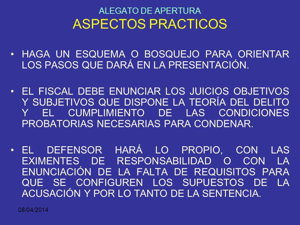 ALEGATO DE APERTURA ASPECTOS PRACTICOS