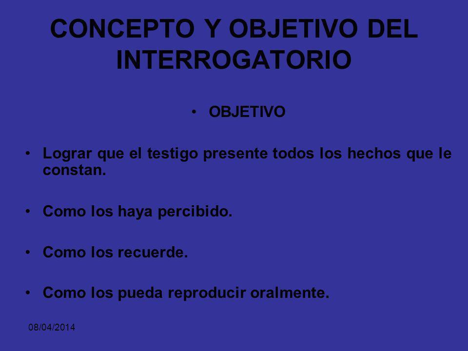 CONCEPTO Y OBJETIVO DEL INTERROGATORIO