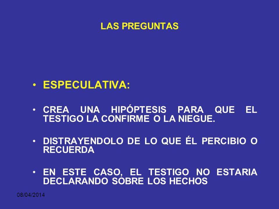 ESPECULATIVA: LAS PREGUNTAS