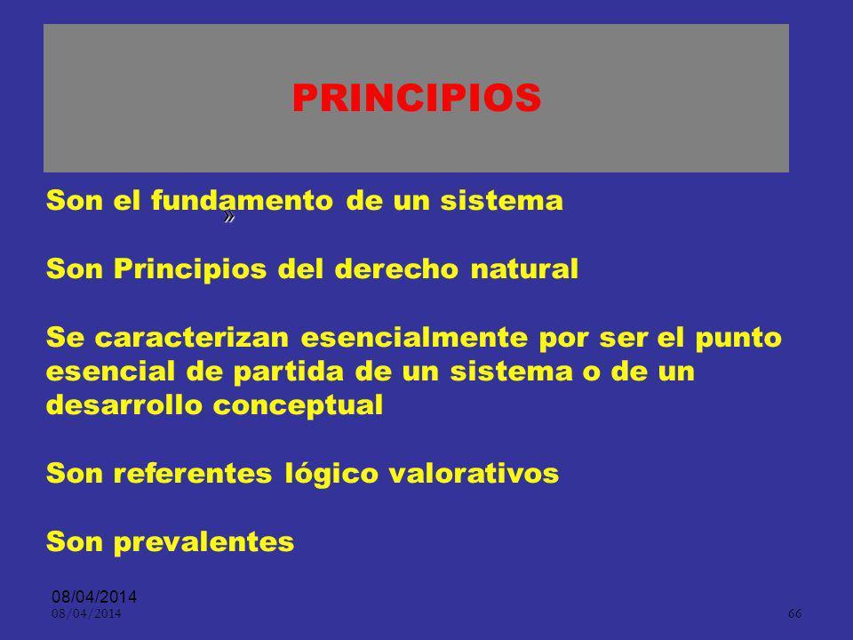 PRINCIPIOS Son el fundamento de un sistema