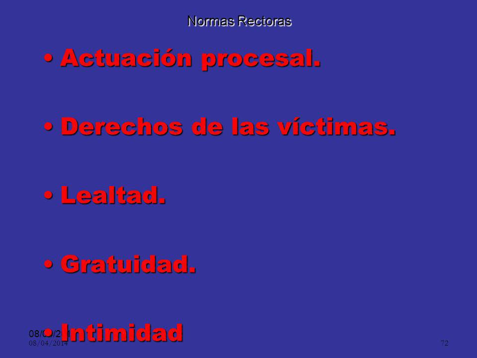 Derechos de las víctimas. Lealtad. Gratuidad. Intimidad