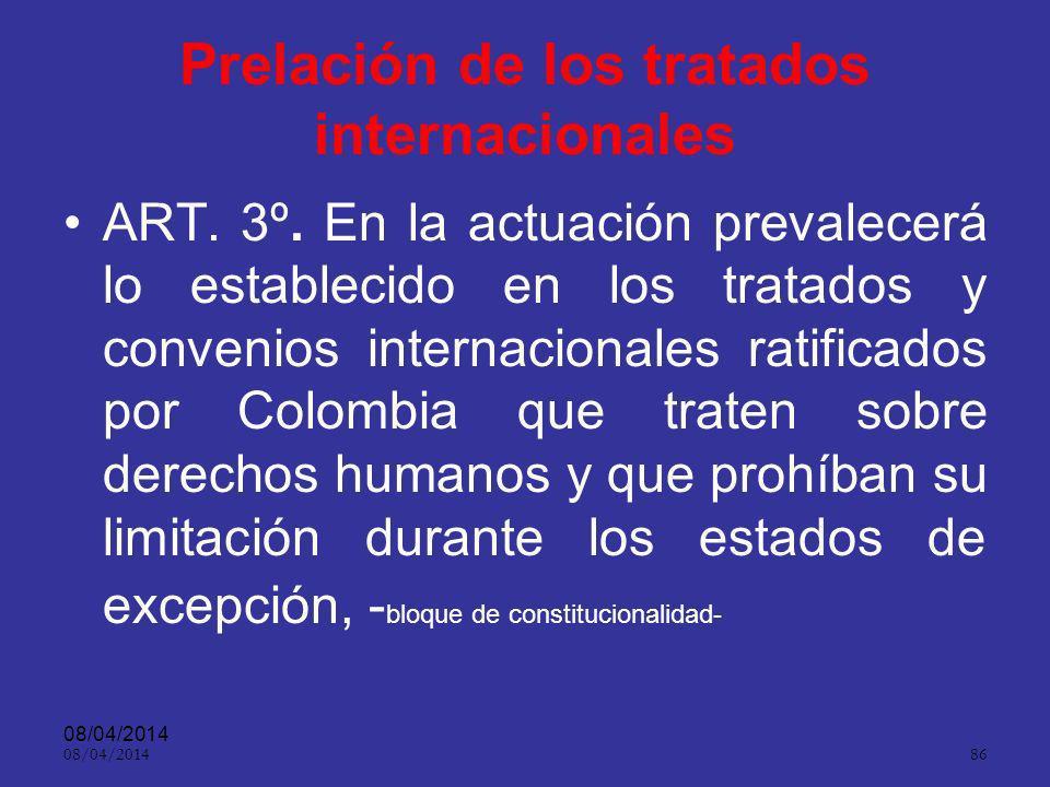 Prelación de los tratados internacionales