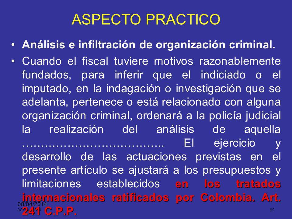 ASPECTO PRACTICO Análisis e infiltración de organización criminal.