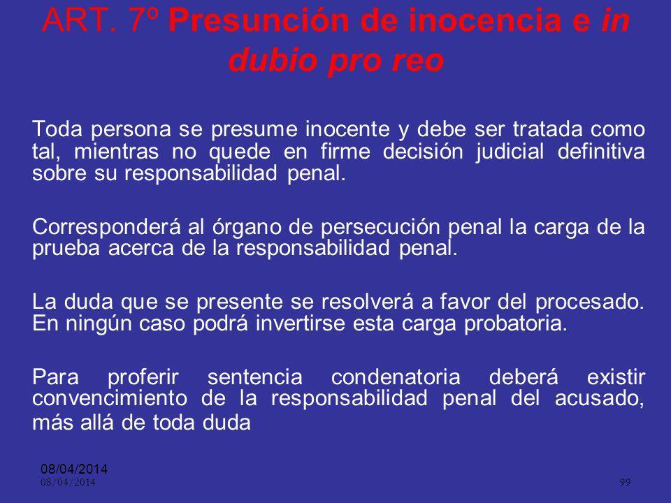 ART. 7º Presunción de inocencia e in dubio pro reo