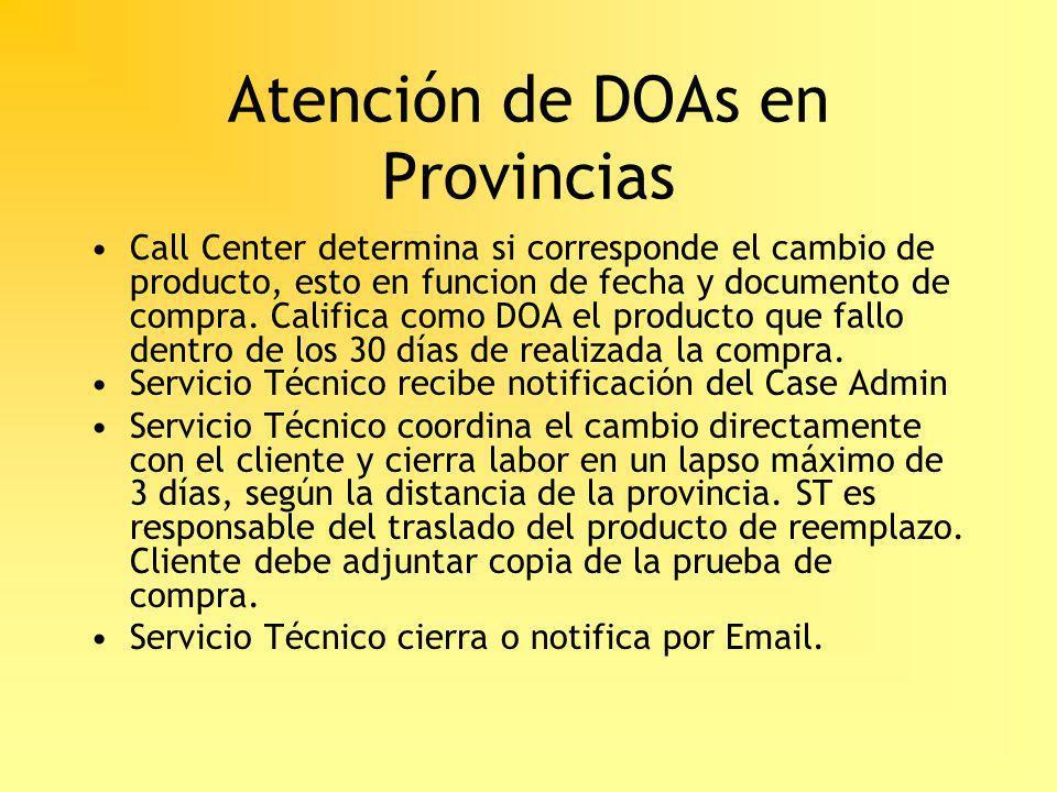 Atención de DOAs en Provincias