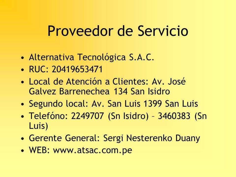 Proveedor de Servicio Alternativa Tecnológica S.A.C. RUC: 20419653471
