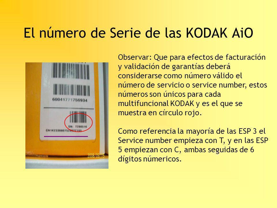 El número de Serie de las KODAK AiO
