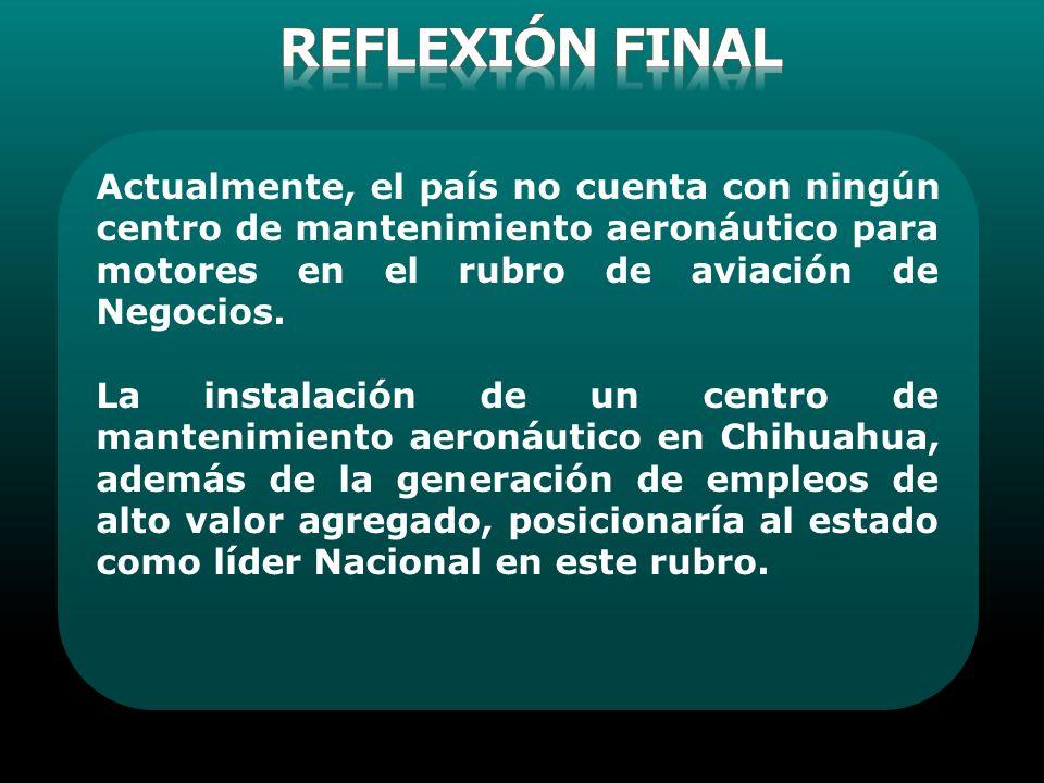 REFLEXIóN FINAL Actualmente, el país no cuenta con ningún centro de mantenimiento aeronáutico para motores en el rubro de aviación de Negocios.