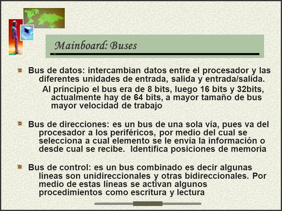 Mainboard: Buses Bus de datos: intercambian datos entre el procesador y las diferentes unidades de entrada, salida y entrada/salida.