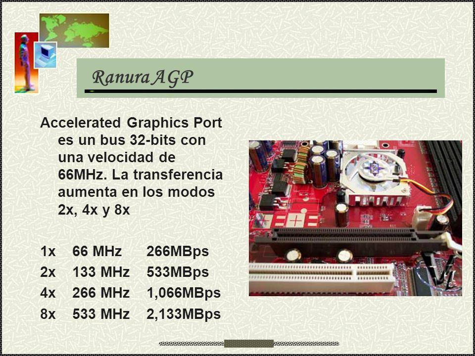 Ranura AGP Accelerated Graphics Port es un bus 32-bits con una velocidad de 66MHz. La transferencia aumenta en los modos 2x, 4x y 8x.