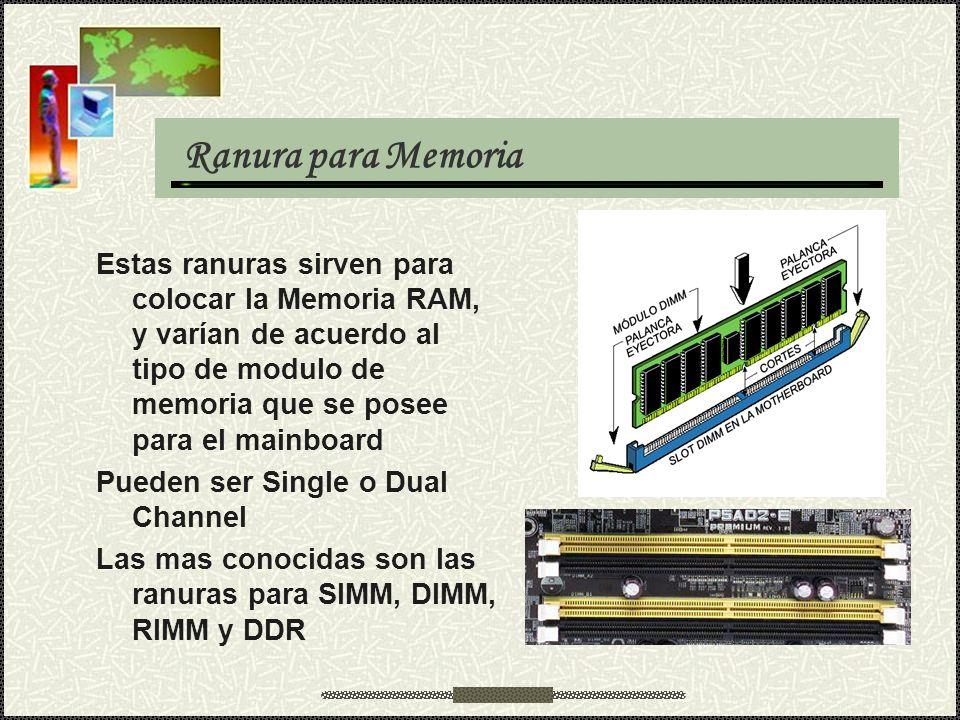 Ranura para Memoria Estas ranuras sirven para colocar la Memoria RAM, y varían de acuerdo al tipo de modulo de memoria que se posee para el mainboard.