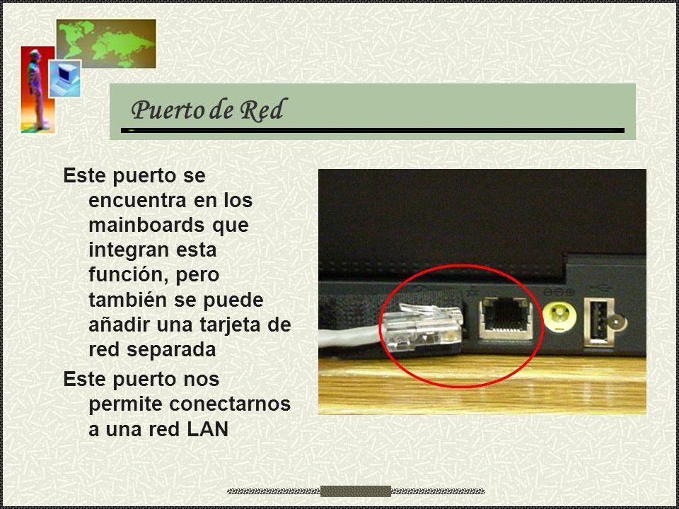 Puerto de Red Este puerto se encuentra en los mainboards que integran esta función, pero también se puede añadir una tarjeta de red separada.