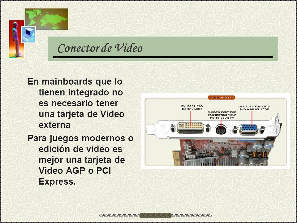 Conector de Video En mainboards que lo tienen integrado no es necesario tener una tarjeta de Video externa.