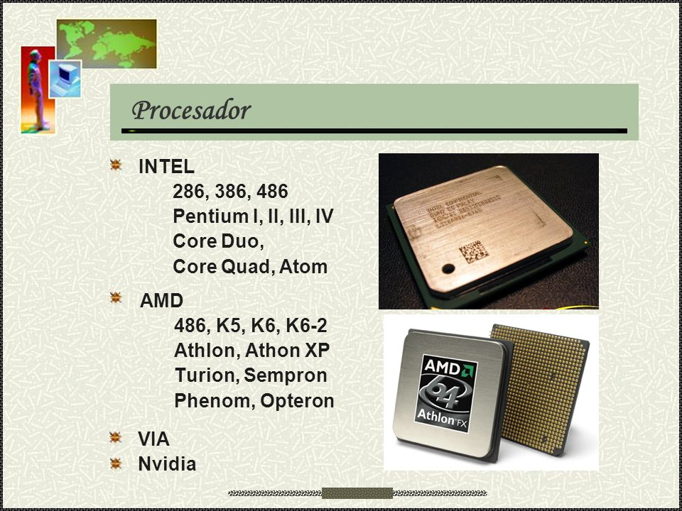 Procesador INTEL 286, 386, 486 Pentium I, II, III, IV Core Duo,