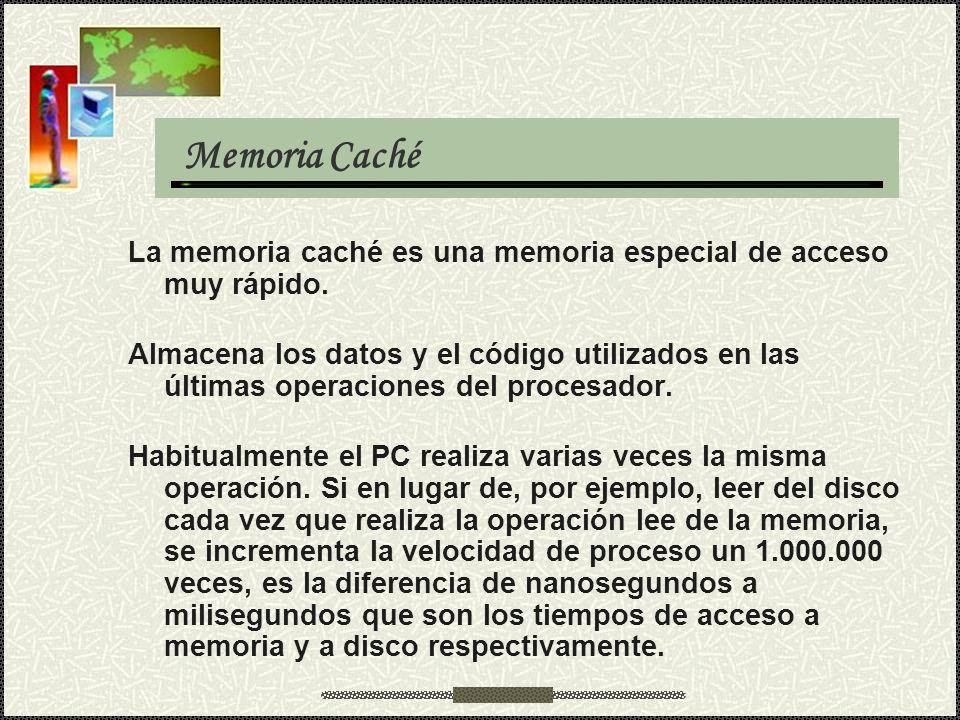 Memoria Caché La memoria caché es una memoria especial de acceso muy rápido.