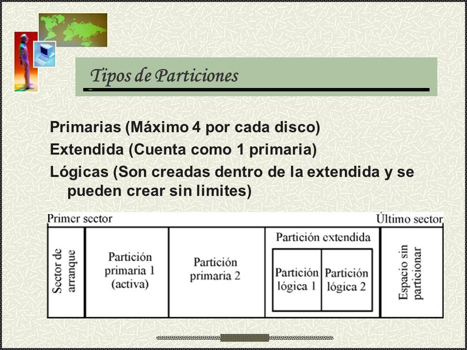 Tipos de Particiones Primarias (Máximo 4 por cada disco)