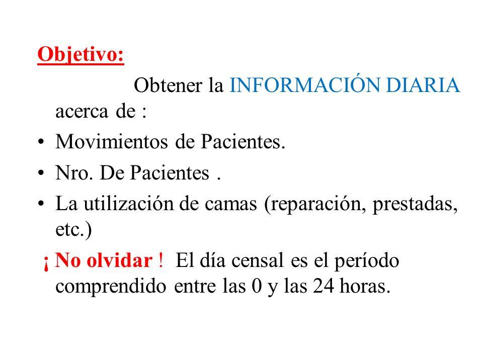 Objetivo: Obtener la INFORMACIÓN DIARIA acerca de : Movimientos de Pacientes. Nro. De Pacientes .