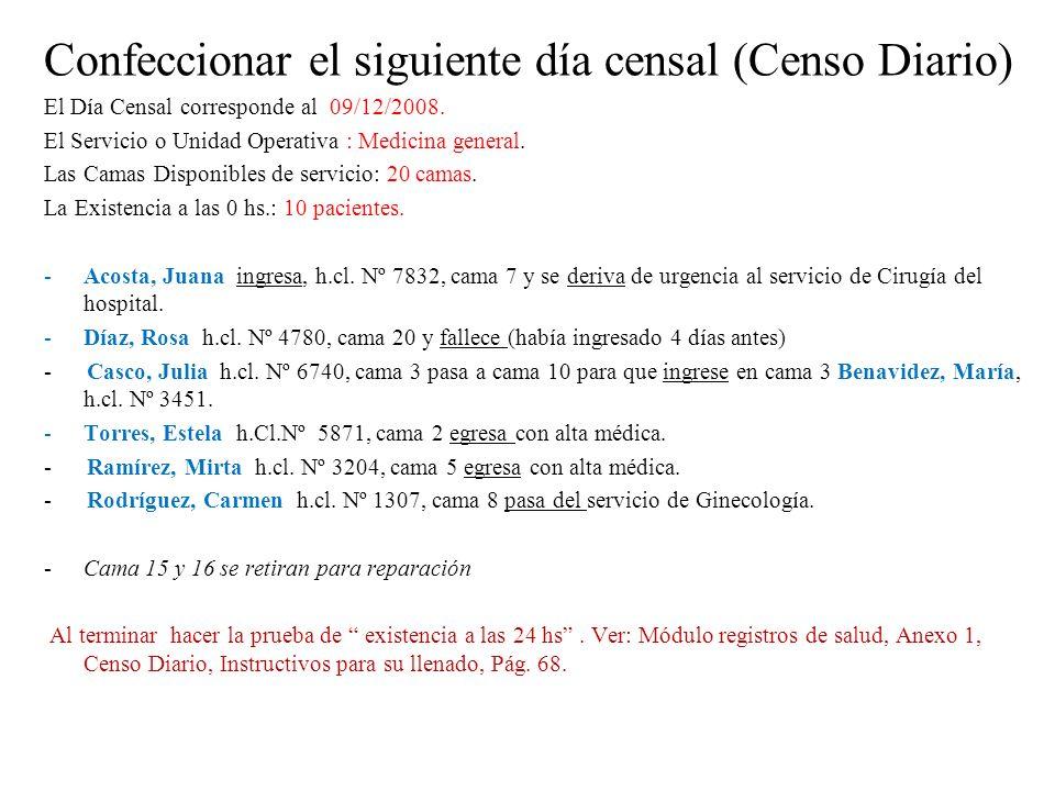 Confeccionar el siguiente día censal (Censo Diario)
