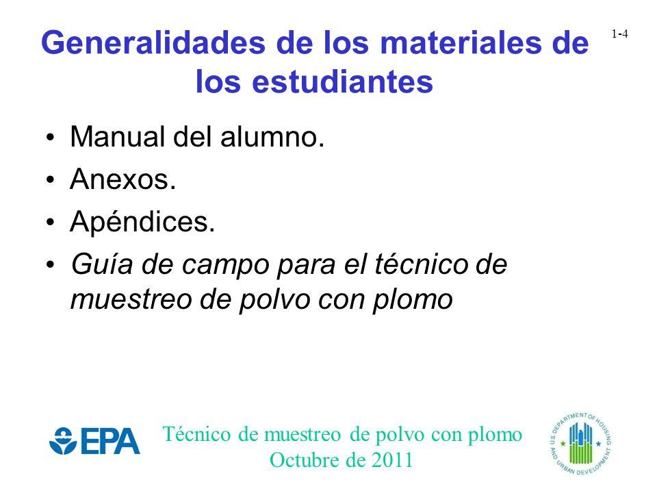Generalidades de los materiales de los estudiantes