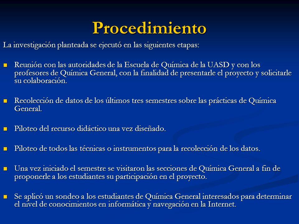 Procedimiento La investigación planteada se ejecutó en las siguientes etapas: