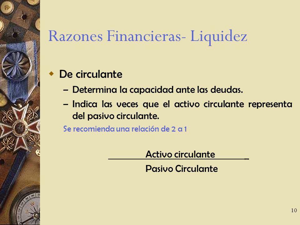 Razones Financieras- Liquidez