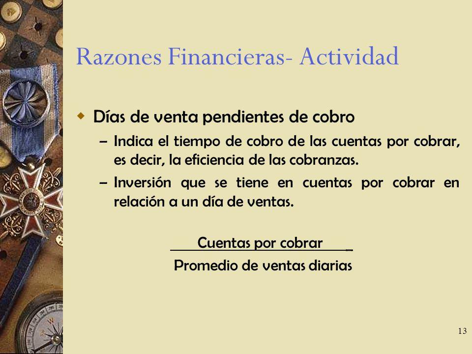 Razones Financieras- Actividad